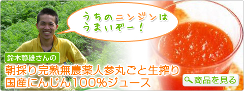 うちのニンジンは鈴木 静雄さんの うまいぞー! 朝採り完熟無農薬人参丸ごと生搾り 国産にんじん100%ジュース